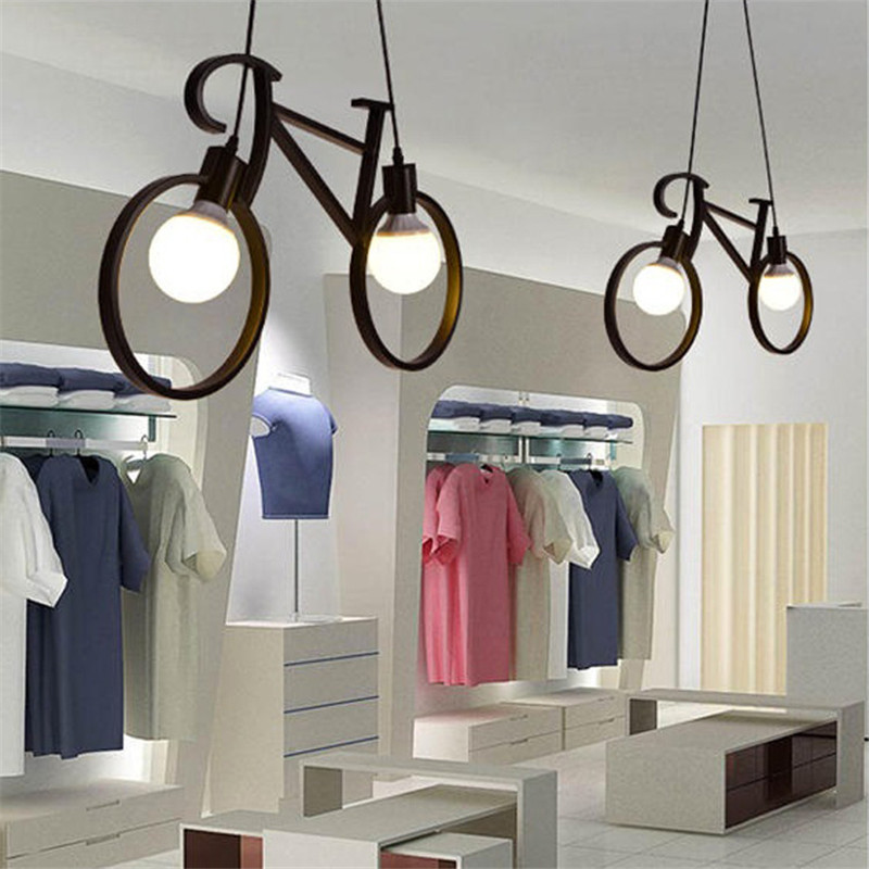 Retro Pendant Light Creative Iron Bicycle Bike Pendant Lamp Living Room Simple Restaurant Bar Industrial Kitchen Hanging Lamps