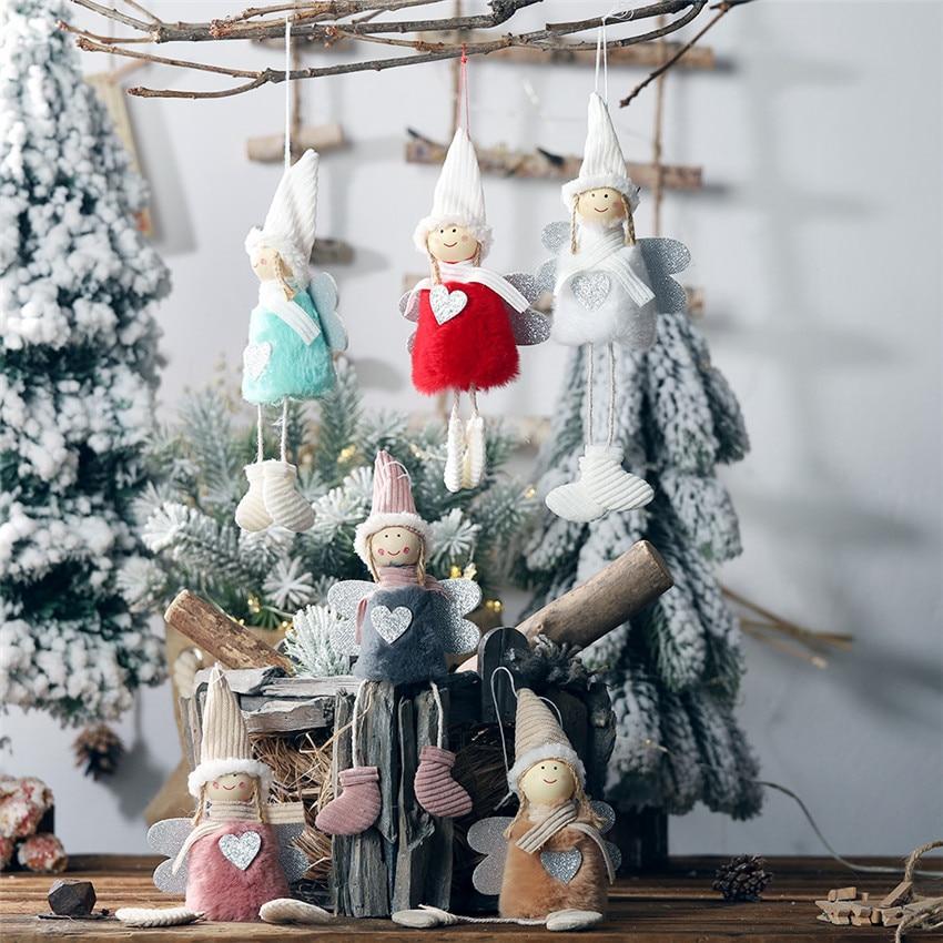 Cute Christmas Pendants Angel Girl Doll Santa Claus Pendants Christmas Tree Decor for Home Xmas Ornaments Gifts for Kids