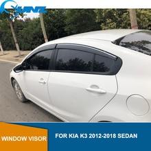 цена на Side window deflectors For KIA K3 2012 2013 2014 2015 2016 2017 2018 sedan Door visor protector rain guard Car Styling SUNZ