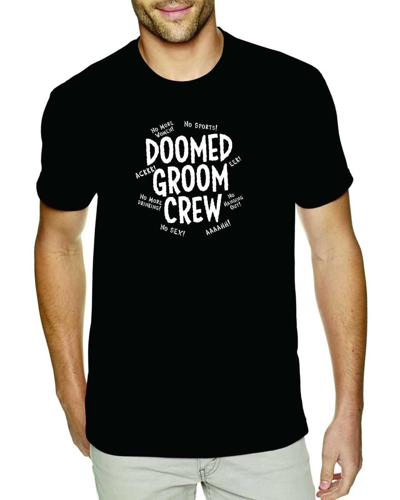 Doomed damat ekip bekarlığa veda parti tişörtleri erkekler çocuklar Groomsmen haftasonu düğün
