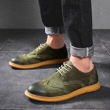 Zapatos de plataforma hueca y plana para hombre, Oxford, de estilo británico Creepers, zapato Brogue, calzado masculino con cordones, zapatos informales de talla grande 38 46