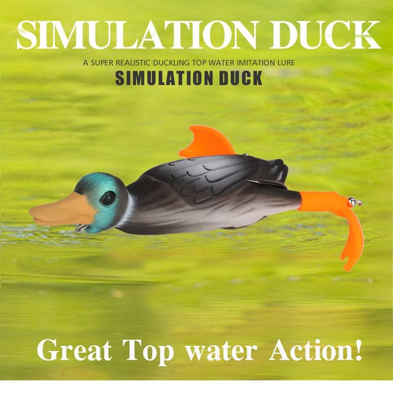 Fishing Lure Cute Duck Soft Lure Top Water 3D Simulation Swivel Fishing Float Baits Attract Bass Fish Carp Swimbait Lure