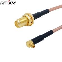 RP-SMA fêmea (plug) para mmcx macho ângulo direito rf coaxial trança cabo rg316 conector adaptador