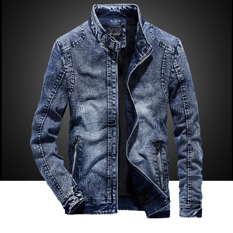 2020 New Autumn And Winter Cotton Slim Men's Retro Casual Denim Jacket Jacket Men Plus Velvet Clothes  MY140