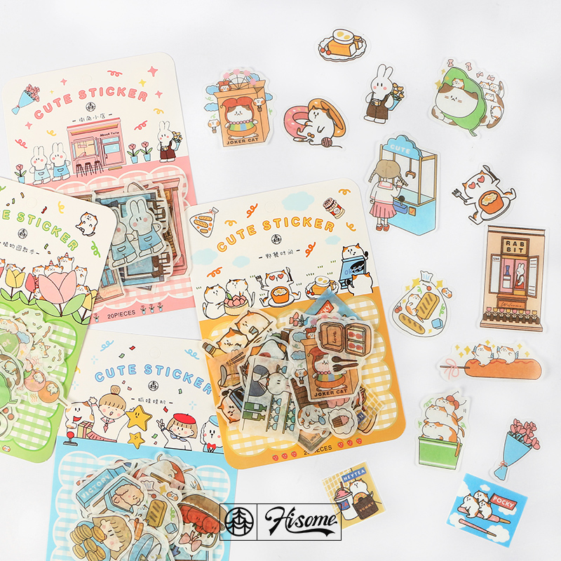20 Pcs/pack Happy Trainee Series Journal Decorative Stickers Scrapbooking Stick Label Diary Stationery Album Cute Cat Stickers