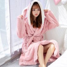 Women Bathrobe Cartoon Cute Winter Warm Hooded Robe 2019 Ladies Casual Flannel Kimono Thick Long Bath Robes Dressing Gowns(China)