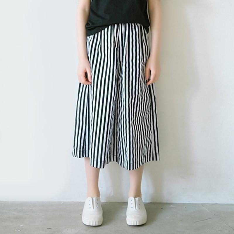 Summer Korean Children's Loose Vertical Striped Wide Leg Pants All-match Cool Elastic Waist Capri-Pants Women girls leggings