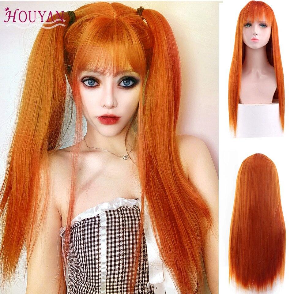 Houyan mulher com longo cabelo reto peruca sintética laranja com franja para uso diário festa