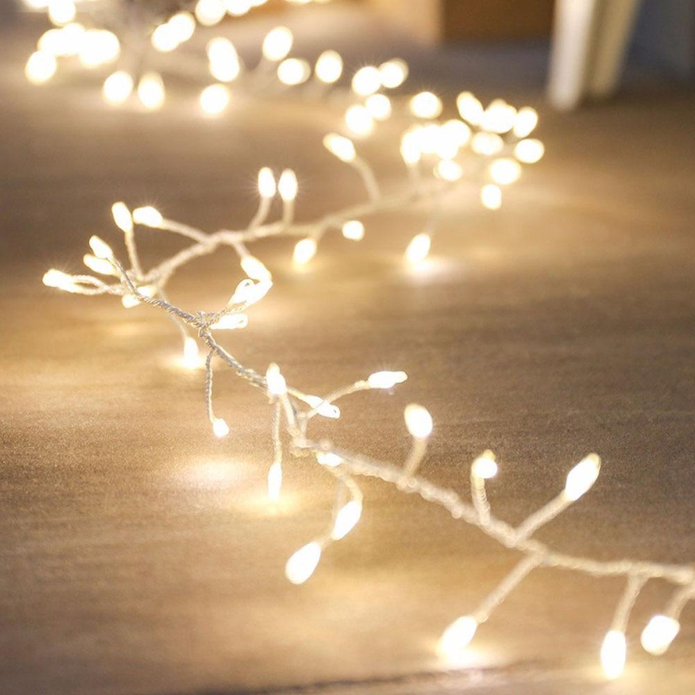 CLAITE AC220V To DC12V 300CM  630CM  10M EU Plug Silver Wire Tree Vine Cluster Branch LED Holiday String Light Christmas Decor