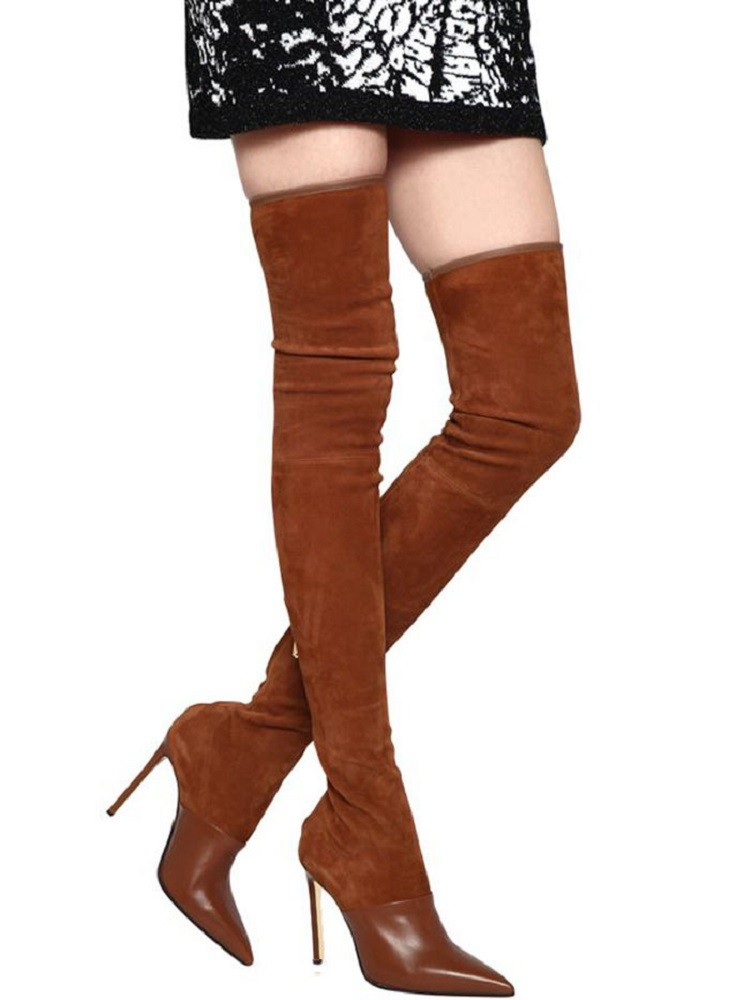 Fashion Women Long Boots Women's Black Brown Suede Elastic Thigh Boot Over-the-knee Modern Boots Sexy Shoes Woman Botas De Mujer