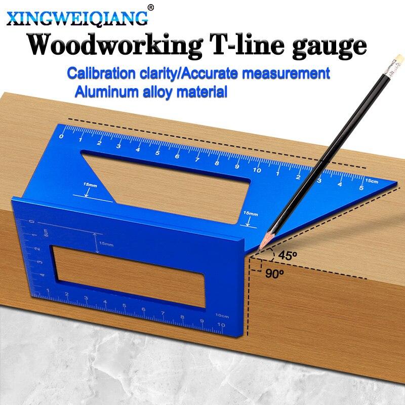 Woodworking Scribe T-type Ruler Hole Scribing Gauge Aluminum Crossed Feet Woodworking Crossed-out Tool Measuring Tool
