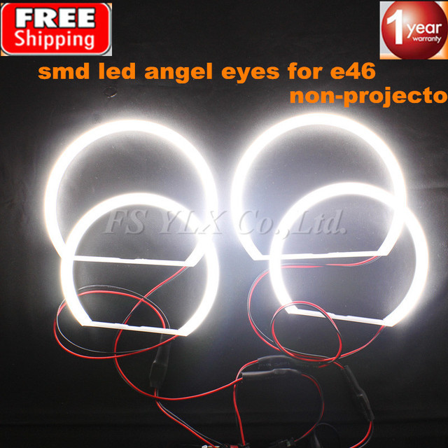 2x131mm+2x146mm SMD LED Angel Eyes  E46 Non Projector For BMW SMD LED Angel Eyes Rings WHITE 3 series coupe/cabrio sedan