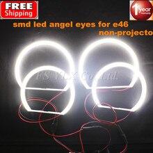 2x131mm + 2x146mm led smd anioł oczy E46 non projektor dla BMW led smd anioł oczy pierścienie biały 3 seria coupe/cabrio sedan