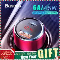 Chargeur ar Baseus 45W Charge rapide 4.0 3.0 USB C pour Xiao mi Huawei Supercharge SCP QC4.0 QC3.0 rapide PD USB C chargeur de téléphone de voiture