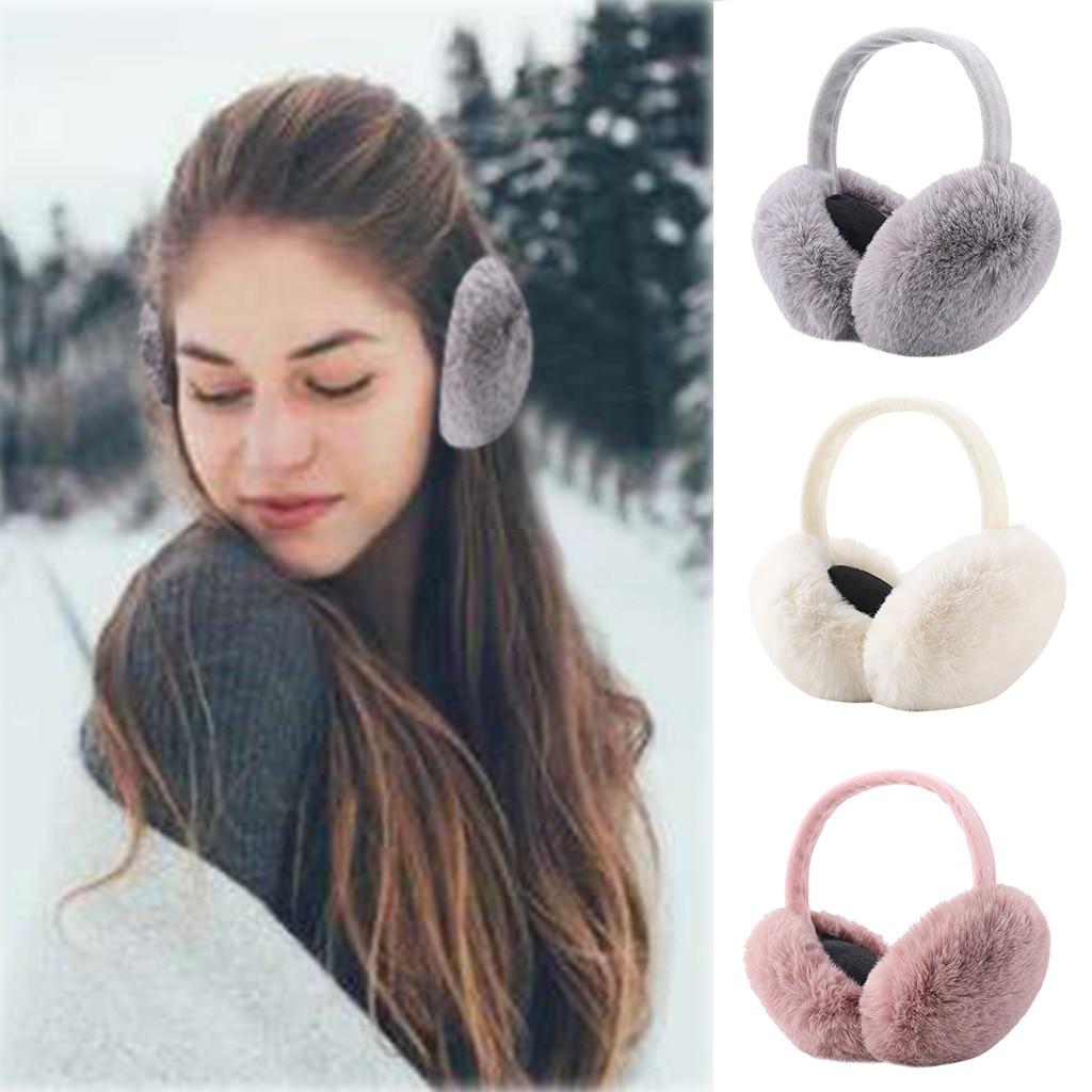 Womens Faux Fur Earmuffs Foldable Winter Outdoor Ear Windproof Warm Earmuffs
