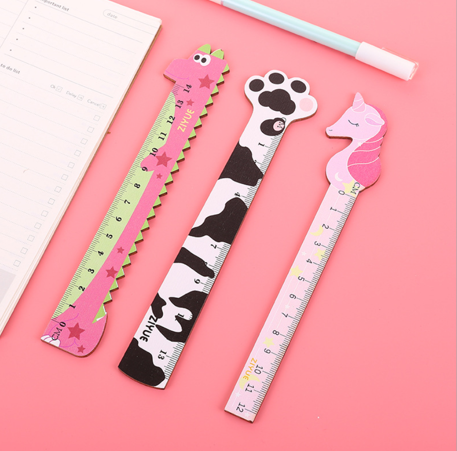 14cm Cute Cartoon Animal Aligator Pony Wooden Ruler Stationary Accessory School Supplies Straight Rulers Lineal Tool Kawaii Gift