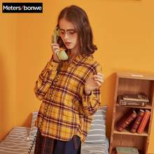 Metersbonwe Shirt Women'S Clothing Blouse New Spring Summer Trend personality Student Clothing Loose plaid shirt 722794(China)
