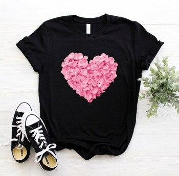 Women tshirt Cotton Casual Funny pink heart flower Print Γυναικείο Μπλουζάκι Βαμβακερό Εκτύπωση Ροζ Καρδιά Λουλούδι Γυναικείες Μπλούζες Ρούχα MSOW