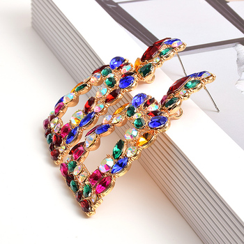Metal Hollowed-out Hanging Colorful Crystals Dangle Drop Earrings  4