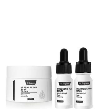 Dr Sugarm 2 sztuk serum z kwasem hialuronowym pielęgnacja twarzy nawilżający Anti-aging przeciwzmarszczkowy 1 trądzik wybielający krem naprawczy zestaw do pielęgnacji skóry tanie i dobre opinie Dr Sugarm Unisex Face 2Pcs Hyaluronic Acid Serum 1Pcs Acne Repair Cream Hyaluronic Acid Oligopeptide Aloe Hamamelis 50ml