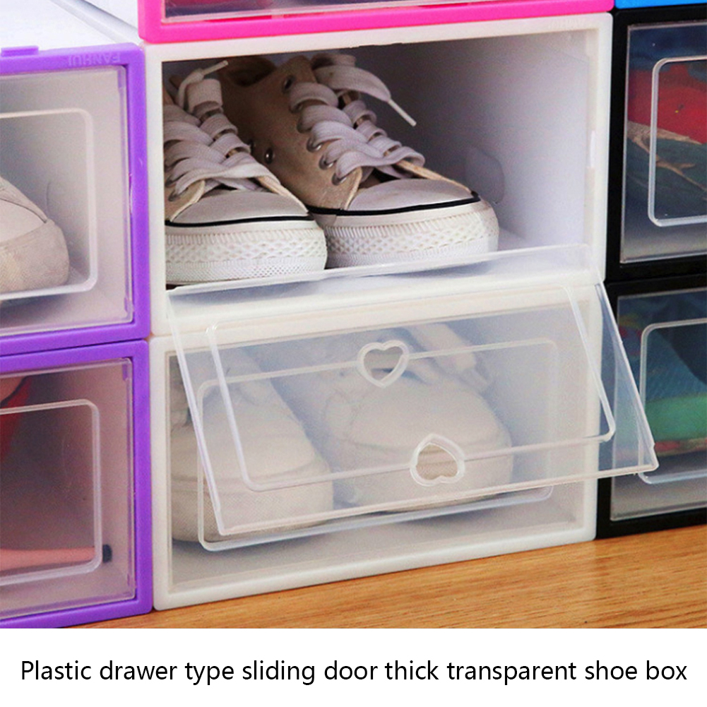 Plastic Shoe Box Thicken Flip Transparent Drawer Case Storage Organizer 6PCS//Set