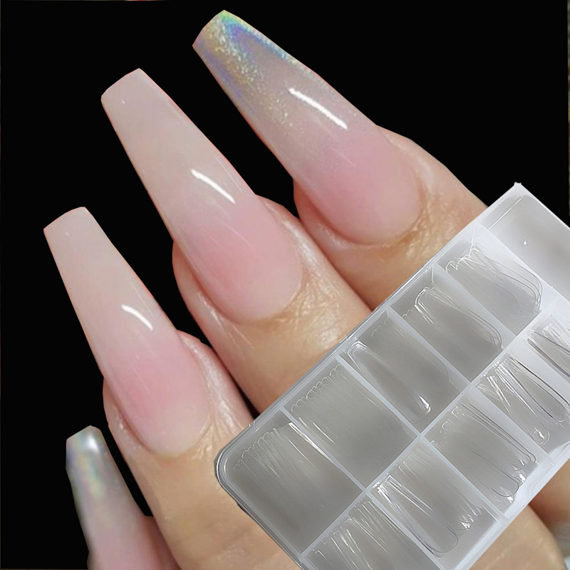 100pcs/box Coffin Ballerina Nail Tips  Long Stiletto False Nails Tips Professional Full Cover DIY Acrylic Fake Nails