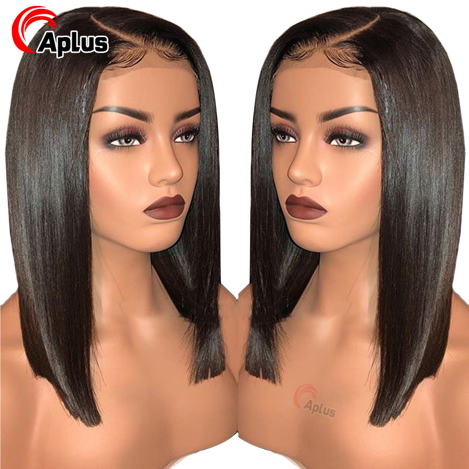 Bob Lace Front Wigs 13x4 Short Brazilian Straight Wig Pre Plucked Hairline With Baby Hair Remy Human Hair Blunt Cut Lace Wig