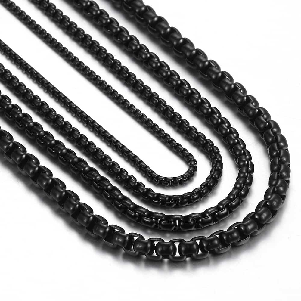 """Davieslee-Cadena de eslabones de acero inoxidable para hombre, collar redondo, negro, 18-36 """", DLKNM118"""