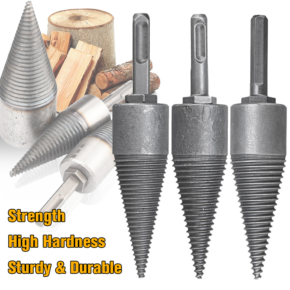 Firewood Split Drill Bit Electric Hammer Log Wood Splitter Splitting Electric Drill Cone Square Round Hex Shank Drill Bit
