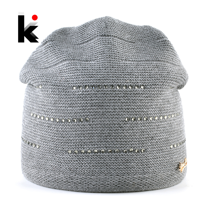 Women's Knitted Beanie Winter Warm Knitting Wool Hat Ladies Outdoor Rhinestone Elegant Skullies Beanie Women Solid Knit Gorras