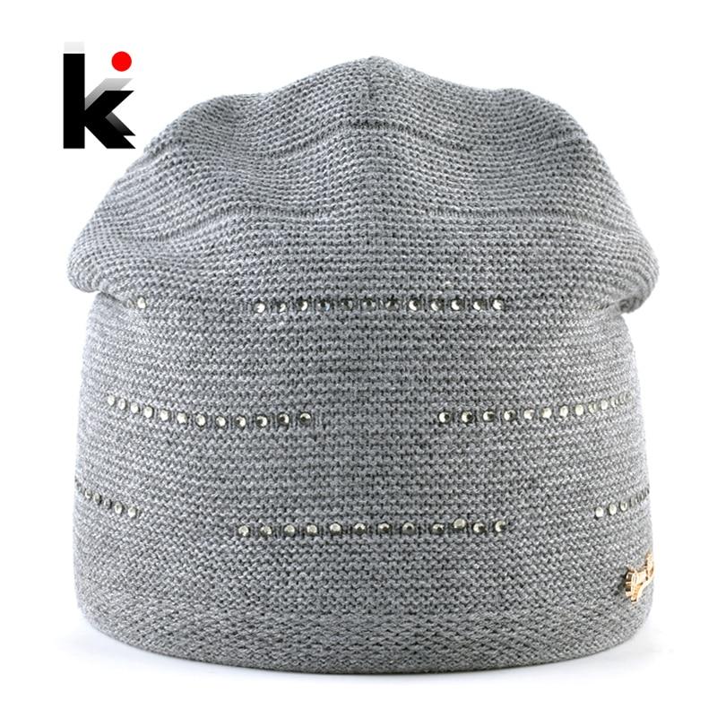 Women's Knitted Beanie Winter Warm Knitting Wool Hat Ladies Outdoor Rhinestone Elegant Skullies Beanie Women Solid Knit Gorras