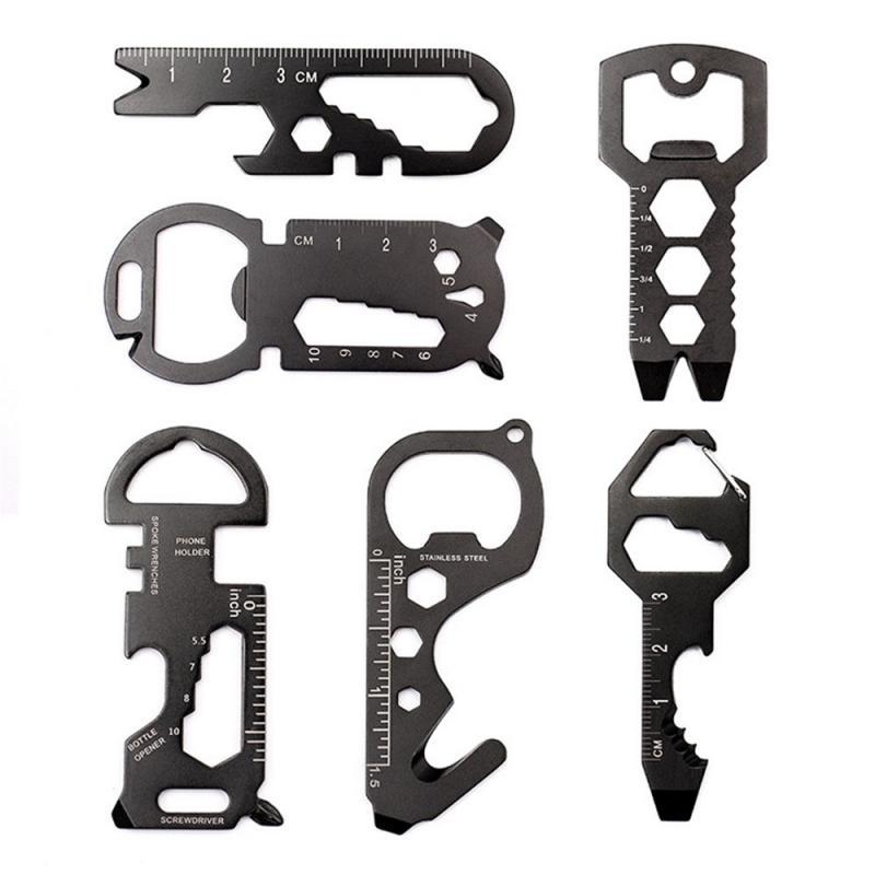Нержавеющаясталь мультиинструмент мульти-функциональный Нержавеющаясталь ключ-образная карманный инструмент брелок для ключей с откры...
