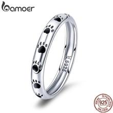 BAMOER, 925 пробы, серебряное, штабелируемое, собака, кошка, следы, кольца на палец для женщин, обручальное кольцо, ювелирное изделие, подарок на день Святого Валентина SCR445