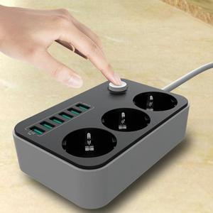 Image 1 - 2500W 10A ładowarka domowa 6 portów USB gniazdo listwy zasilające uniwersalny przedłużacz porty ładowania ochrona przeciwprzepięciowa wtyczka EU