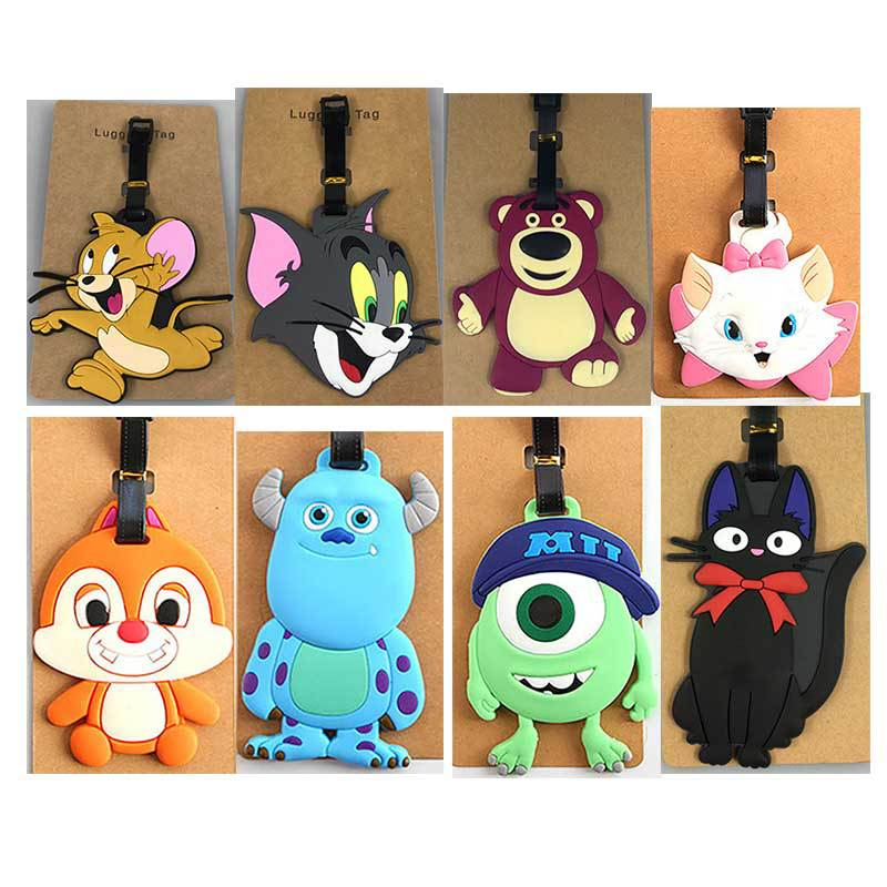 Cartoon Cat Mouse Luggage Tag Creative Silicone Consignment Identification Boarding Travel Accessories Portable Suitcase Tag