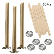 50Pcs Cross Wooden Candle Wicks Natural DIY Craft Cores With Metal Base For Making Supply Soy Parffin Wax
