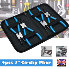 4Pcs 7 Circlip Pliers Set Internal External Bent Nose Straight Tip Snap Ring Remover Circlip Plier Kit Handle Multi Crimp Tool 4pcs 7 175mm long nose circlip pliers set snap external internal retaining ring pliers kit diy beading jewellery remover tool