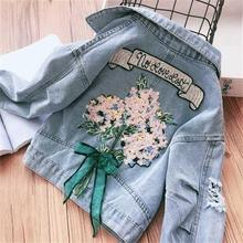 Spring Baby Jeans Jacket Autumn Embroidery Hooded Denim Jacket For Baby Girls Jacket Coat Kids Outerwear Children Clothes 2020 cheap Fashion COTTON Polyester Solid REGULAR Turn-down Collar Outerwear Coats Full Fits true to size take your normal size