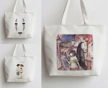 Animation Spirited Away Canvas No Face man Tote Bags Unisex Handbag Foldable Shoulder Bag White Shopper Bags Casual Shopping Bag(China)