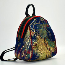 2020 New Shoulder Ethnic Embroidery Bag women's bags Peacock   Canvas Backpack Girl's Cute Mini Bag Water-proof Travel Chinese