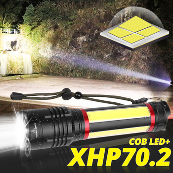 Ultra bright Built-in 7200mAh XHP70.2+COB LED Flashlight portable Waterproof torch USB Rechargeable Lantern suit for Camping