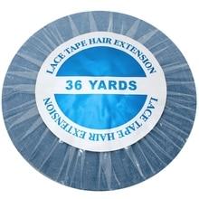 Cinta adhesiva frontal de encaje azul de 36 yardas para extensión de cabello, cinta adhesiva de trama de piel, 0,8/1,0/1,27 cm