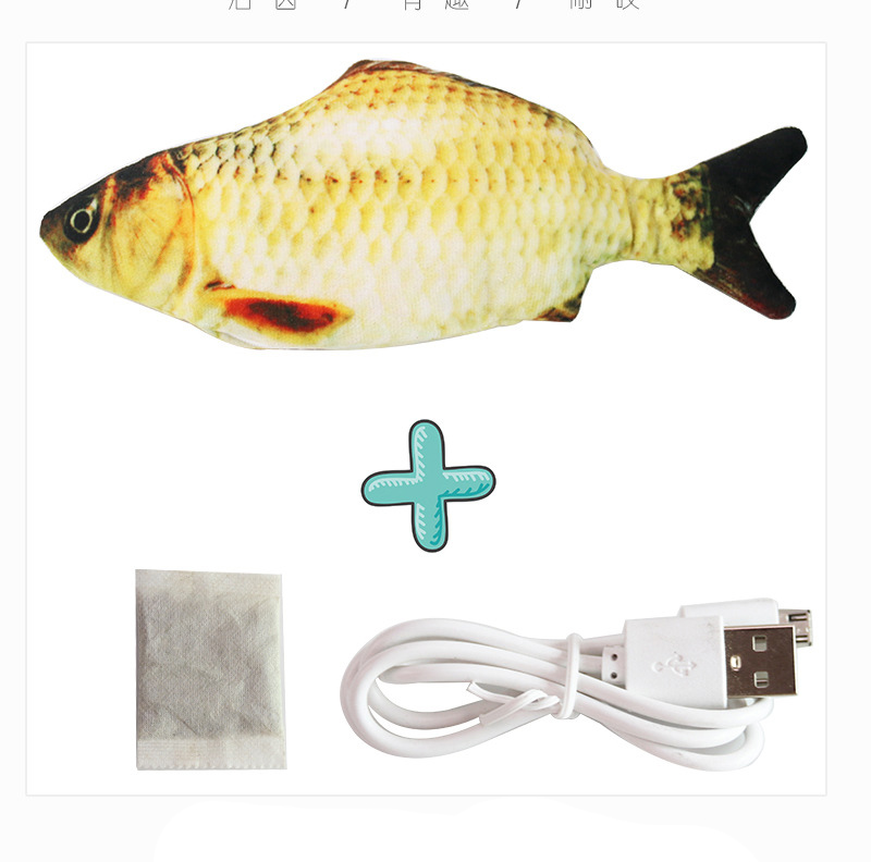 Cat USB Charger Toy Fish Interactive Electric floppy Fish Cat toy Realistic Pet Cats Chew Bite Toys Pet Supplies Cats dog toy 19