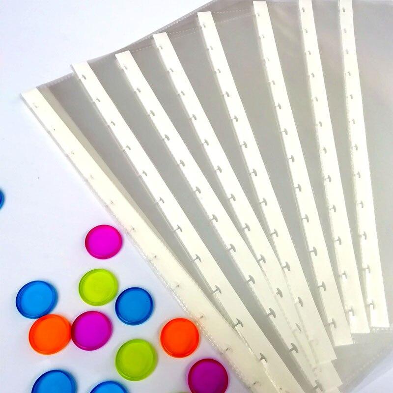 10 Pcs/Pack 12 Holes Mushroom Hole A4 Transparent Loose-leaf Bag Folder Information Book Pocket Transparent Document Bag Office