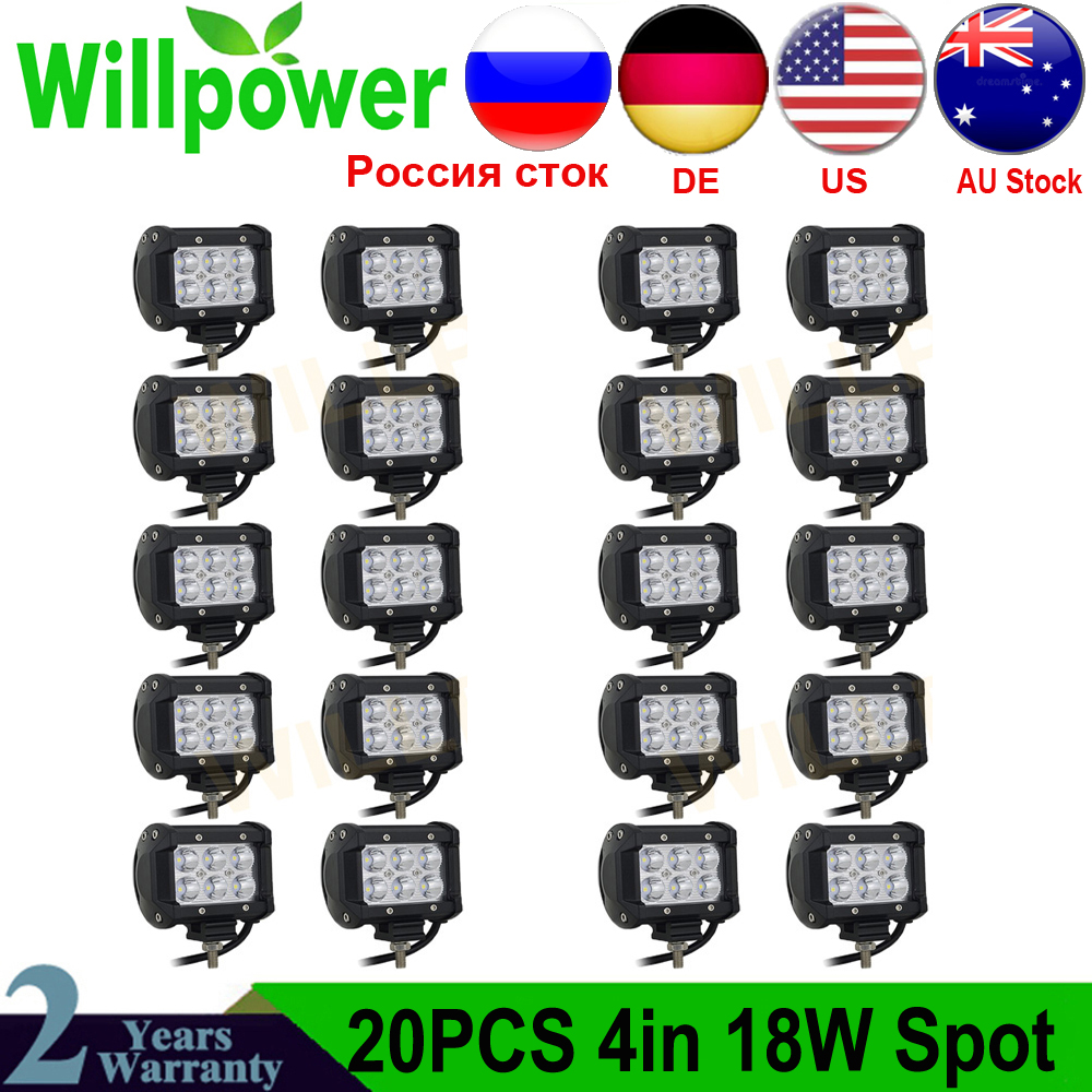 18W-S Willpower 6 inch 18W LED Work Light Bar Spot Beam Driving Pods Work Lamp For Off-Road Suv Boat 4X4 Jeep JK 4Wd Truck 12V-24V 1800LM