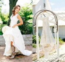 2019 appliques Lace Wedding Dresses Country vestido de noiva robe mariee Bridal gown V-Neck Bohemian dress Custom