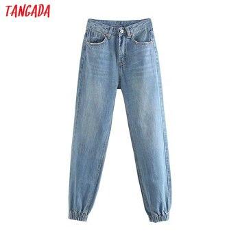 Mode femmes mal jean style petit ami denim pantalon pantalons longs poches fermeture éclair ample streetwear femme pantalon pantalon 4M33