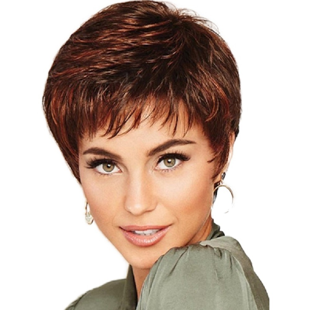 Women's Wig Short Straight Pixie Cut Natural Hai Synthetic Capless Wig
