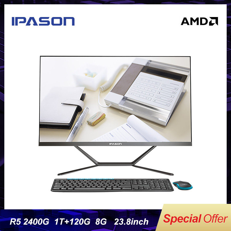 IPASON All-in-one Computer  P21 PLUS 23.8inch AMD 4 Core R5 2400G 1T+120G SSD DDR4 4G*2 RAM WIFI BLUETOOTH  Desktop Mini PC