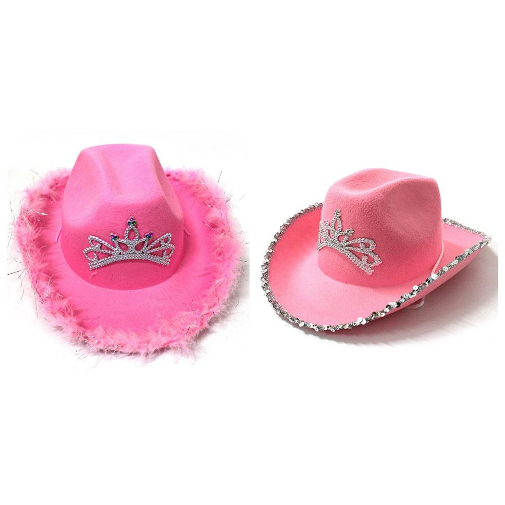 Dress Up Western Sequin Edge Crown Party Cowboy Hats Cap Cowgirl Feather Edge For Adult